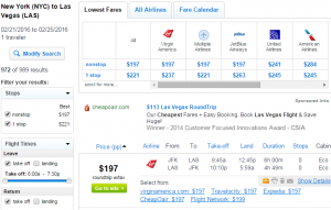 NYC to Las Vegas: Fly.com Results Page