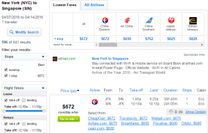 NYC to Singapore: Fly.com Results Page