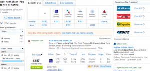West Palm Beach to NYC: Fly.com Results Page