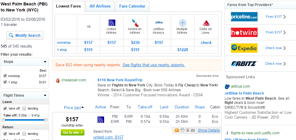 West Palm Beach To Nyc Fly Results Page