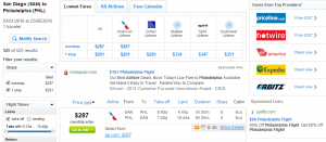 San Diego to Philly: Fly.com Results Page