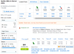 Seattle to Denver: Fly.com Results Page