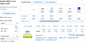 Seattle to Las Vegas: Fly.com Results Page