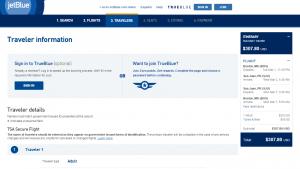 Boston to San Juan: JetBlue Booking Page