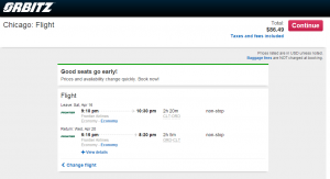 Charlotte to Chicago: Orbitz Boking Page