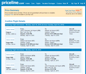 NYC to Athens: Priceline Booking Page