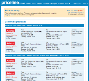 NYC to Belize City: Priceline Booking Page