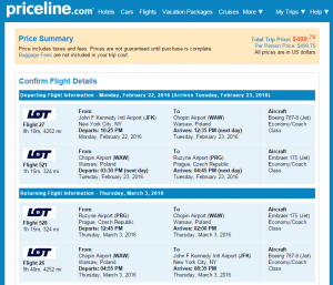 NYC to Prague:Priceline Booking Page