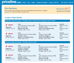 NYC to Singapore: Priceline Booking Page