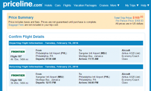 Philly to Montego Bay: Fly.com Results Page