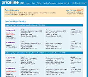D.C. to Honolulu: Priceline Booking Page