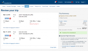 NYC to Cairo: Travelocity Booking Page