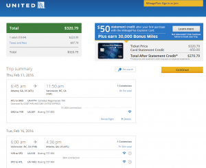 Atlanta to Vancouver: United Booking Page