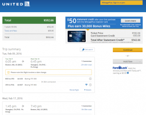 Boston to Shanghai: United Airlines Booking Page