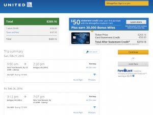 NYC to Antigua: United Booking Page
