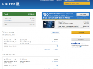West Palm Beach to NYC: United Booking Page