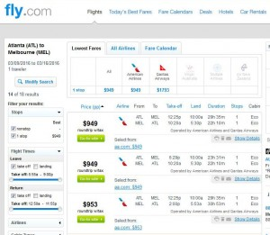 Atlanta-Melbourne: Fly.com Search Results