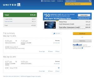 Atlanta to Chicago: United Booking Page