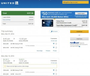 Austin-Cancun: United Airlines Booking Page