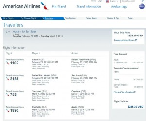 Austin-San Juan: American Airlines Booking Page
