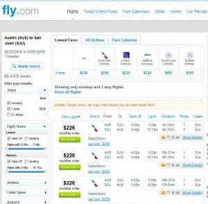 Austin-San Juan: Fly.com Search Results