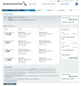 Boston to Rio de Janeiro: AA Booking Page