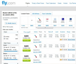 Boston to Rio de Janeiro: Fly.com Results
