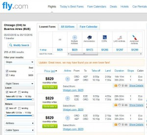 Chicago-Buenos Aires: Fly.com Search Results