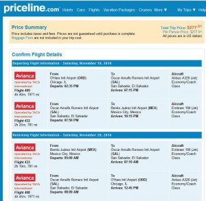 Chicago-Mexico City: Priceline Booking Page