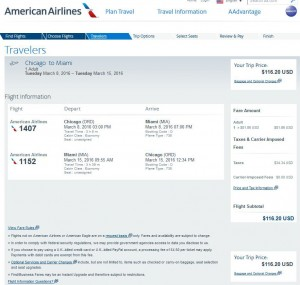 Chicago-Miami: American Airlines Booking Page