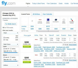 Chicago-Panama City: Fly.com Search Results