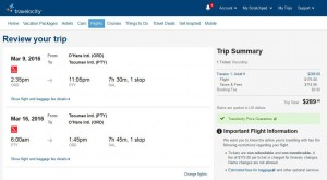 Chicago-Panama City: Travelocity Booking Page