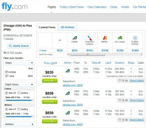 Chicago-Pisa: Fly.com Search Results