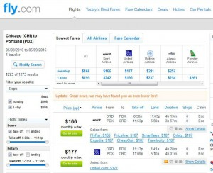 Chicago-Portland: Fly.com Search Results