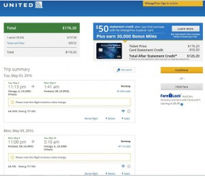 Chicago-Portland: United Airlines Booking Page