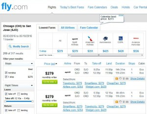 Chicago-San Jose: Fly.com Search Results