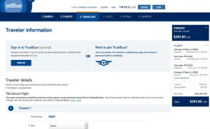 Chicago-San Juan: JetBlue Booking Page