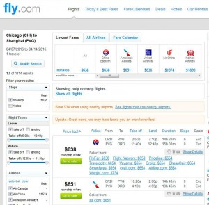 Chicago-Shanghai: Fly.com Search Results
