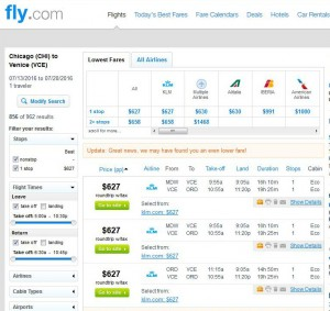Chicago-Venice: Fly.com Search Results
