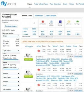 Cincinnati-Paris: Fly.com Search Results