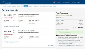 Cincinnati-Paris: Travelocity Booking Page