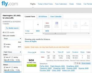 DC to Lima, Peru: Fly.com Results