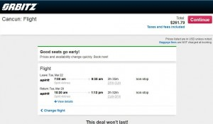 Dallas-Cancun: Orbitz Booking Page