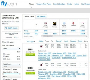 Dallas-Johannesburg: Fly.com Search Results (Nov.)