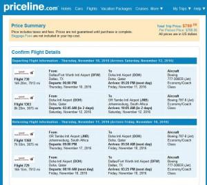 Dallas-Johannesburg: Priceline Booking Page