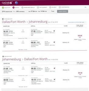 Dallas-Johannesburg: Qatar Airways Booking Page
