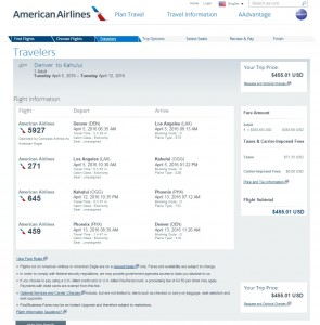 Denver to Maui: American Airlines Booking Page