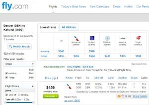 Denver to Maui: Fly.com Results