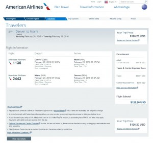 Denver to Miami: American Airlines Booking Page