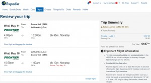 Denver to NYC: Expedia Booking Page